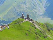 Tsminda Sameba Kloster, Kazbegi, Georgia Lizenzfreies Stockbild