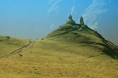 Tsminda Sameba monastery, Kazbegi, Caucasus Stock Photography