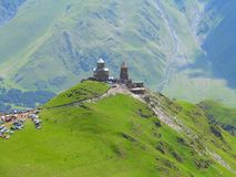 Tsminda Sameba monastery, Kazbegi, Georgia Royalty Free Stock Image
