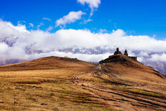 Tsminda Sameba near the Kazbegi-Gergeti village Royalty Free Stock Photo