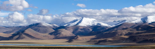 Tso Kar mountain lake panorama Stock Photography