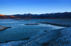 Tso Kar salt water lake in Ladakh, Jammu and Kashmir, India Royalty Free Stock Images