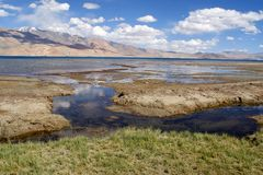 Tso Moriri湖在拉达克,喜马拉雅山 免版税库存照片