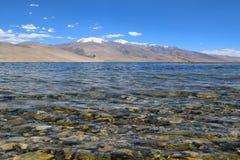 Tso moriri湖在查谟和克什米尔的ladakh区域 库存照片