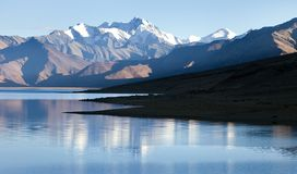 Tso Moriri Lake with Great Himalayan Range, Rupshu valley Royalty Free Stock Images