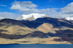 Tso Moriri lake and Himalayas. Himalayas landscape with Tso Moriri lake in the foreground in Ladakh, India, altitude 4600 m Stock Photos