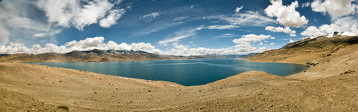 Tso-moriri lake in Ladakh, India. The lake lies at an altitude of 4600 meters on the Himalayas Royalty Free Stock Image