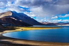TSO Moriri sul tramonto, Ladakh Fotografie Stock Libere da Diritti