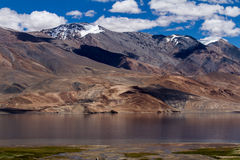 Tsomoriri mountain lake panorama with mountains Royalty Free Stock Photography