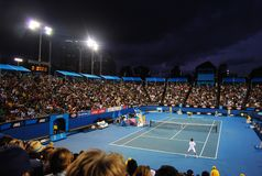 Tsonga v Petzschner à l'Australien ouvrent 2011 Photo stock