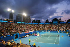 Tsonga v Petzschner at Australian Open 2011 Royalty Free Stock Photography