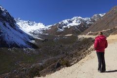 Woman enjoying Tsopta Valley views. stock images