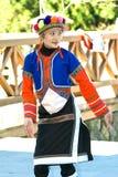Tsou Female. A girl from the Taiwan Alishan Tsou aboriginal show her culture through dancing Stock Photography