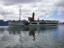 TSS earnslaw. Photo of the steamboat tss earnslaw on lake wakatipu with th southern alp of new Zealand in the background Stock Photography