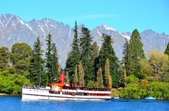 Steamship, Queenstown, New Zealand. TSS Earnslaw 1912 Edwardian vintage twin screw steamer. Last remaining commercial passenger carrying coal-fired steamship in Royalty Free Stock Photo