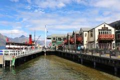 TSS Earnslaw, Queenstown nabrzeże, Jeziorny Wakatipu NZ Fotografia Royalty Free