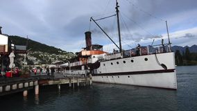 TSS Earnslaw in Queenstown NZ. QUEENSTOWN, NZ - JAN 15:TSS Earnslaw on Jan 15 2014.It's one of the oldest tourist attractions in Otago and the only remaining stock video