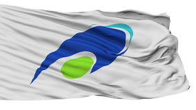 Tsu Capital City Isolated Waving Flag. Tsu Capital City Flag, Mie Prefecture of Japan, Isolated Realistic 3D Animation, Slow Motion, Seamless Loop - 10 Seconds stock video