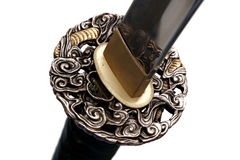 Tsuba : hand guard of Japanese sword royalty free stock photo