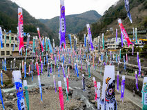 TSUETATE, JAPAN - APRIL 1, 2017: Colorful carp flags Koinobori Festival Royalty Free Stock Image