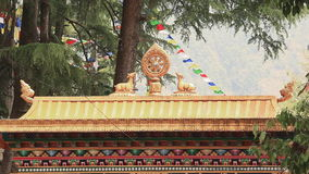 Tsuglagkhang Temple Dharamsala. Traditional Buddhist style in the Tsuglagkhang temple in Dharamsala, McLeod Ganj, India stock video footage