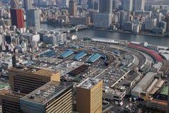 Tsukiji鱼市从上面 免版税库存照片
