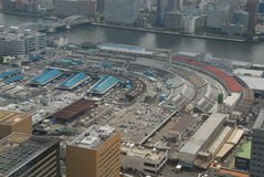 Tsukiji fish market from air Royalty Free Stock Photography