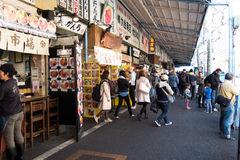 Tsukiji fiskmarknad Royaltyfri Fotografi