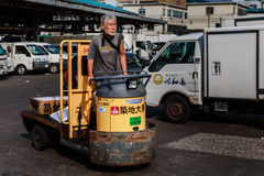 Tsukiji fiskmarknad, Tokyo, Japan Arkivbild