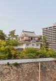 Tsukimi-Drehkopf von Fukuyama-Schloss, Japan Nationale historische Site Lizenzfreie Stockfotos