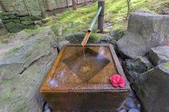Tsukubai vattenspringbrunn i japanträdgård Royaltyfri Fotografi
