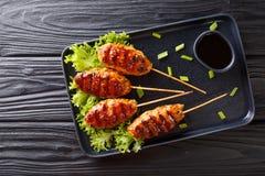 Tsukune kurczaka Japońscy klopsiki skewered dalej i typowo piec na grillu nad węglem drzewnym w górę talerza, horyzontalny odg?rn fotografia stock