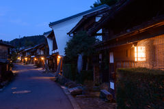 Tsumago-juku在Kiso,长野,日本 免版税库存图片
