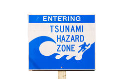 Tsunami. Evacuation Route road sign with clipping path -- Harbor Wave Stock Photos