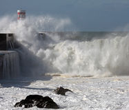 Tsunami. River Douro mouth in a stormy morning Royalty Free Stock Image