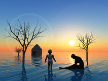 Tsunami. Floods and Tsunamis due to earthquake and climate change are threatening mankind Stock Images