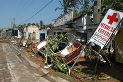 Tsunami of 26 december 2004 at Hikkaduwa Stock Images