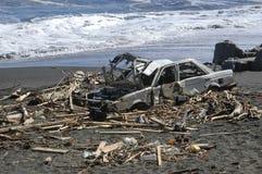 Tsunami. Debris left by the tsunami, the February 27, 2010, on the shores of Constitucion, Chile stock photo