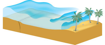 Tsunami. Illustration with waves coming to shore from ocean Stock Images