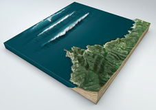 Tsunami, abnormal wave, wave formation. 3d split of a ground section under the effect of a tsunami in the ocean knocking on the co. Asts. 3d rendering Stock Photo