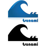 Tsunami alert. Icon showing a big wave after two smaller waves, with the word tsunami under it Royalty Free Stock Image