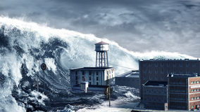Tsunami. Apocalyptic scene with tsunami devastating coastal town Stock Images