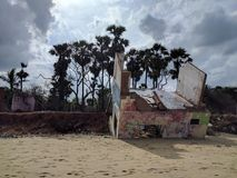 Tsunami and Auroville. Remains of a property at the Auroville beach in Pondicherry Stock Photos