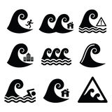 Tsunami, aviso grande da onda, ícones neutros do desastre ajustados Foto de Stock Royalty Free