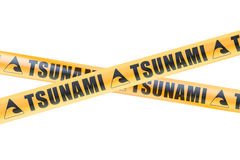 Tsunami Caution Barrier Tapes, 3D rendering Royalty Free Stock Photography