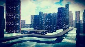 Tsunami che devasta la città illustrazione di stock