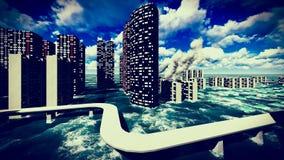 Tsunami dévastant la ville illustration stock