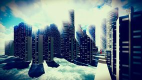 Tsunami dévastant la ville illustration libre de droits