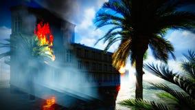 Tsunami, der die Stadt verwüstet stockfoto