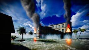Tsunami, der die Stadt verwüstet lizenzfreies stockfoto